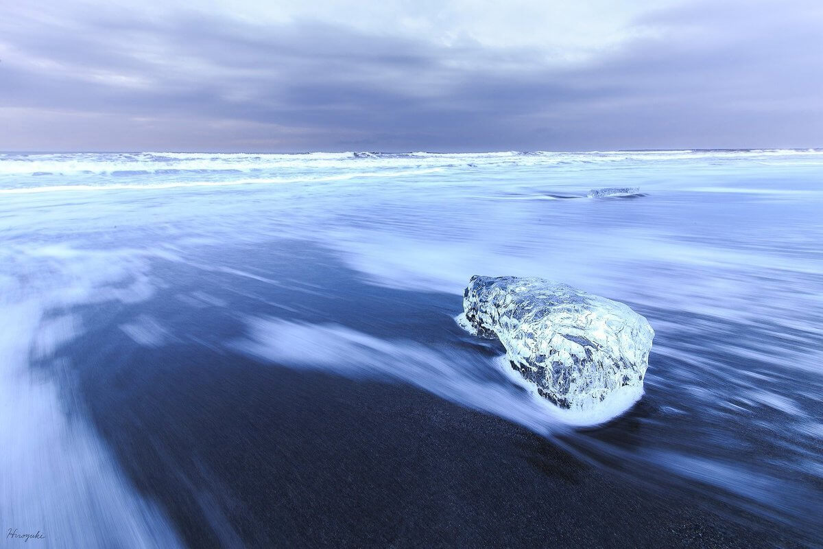 The Coast Of Hokkaido Islands Covered By Pieces Of Ice That Look Like Jewels
