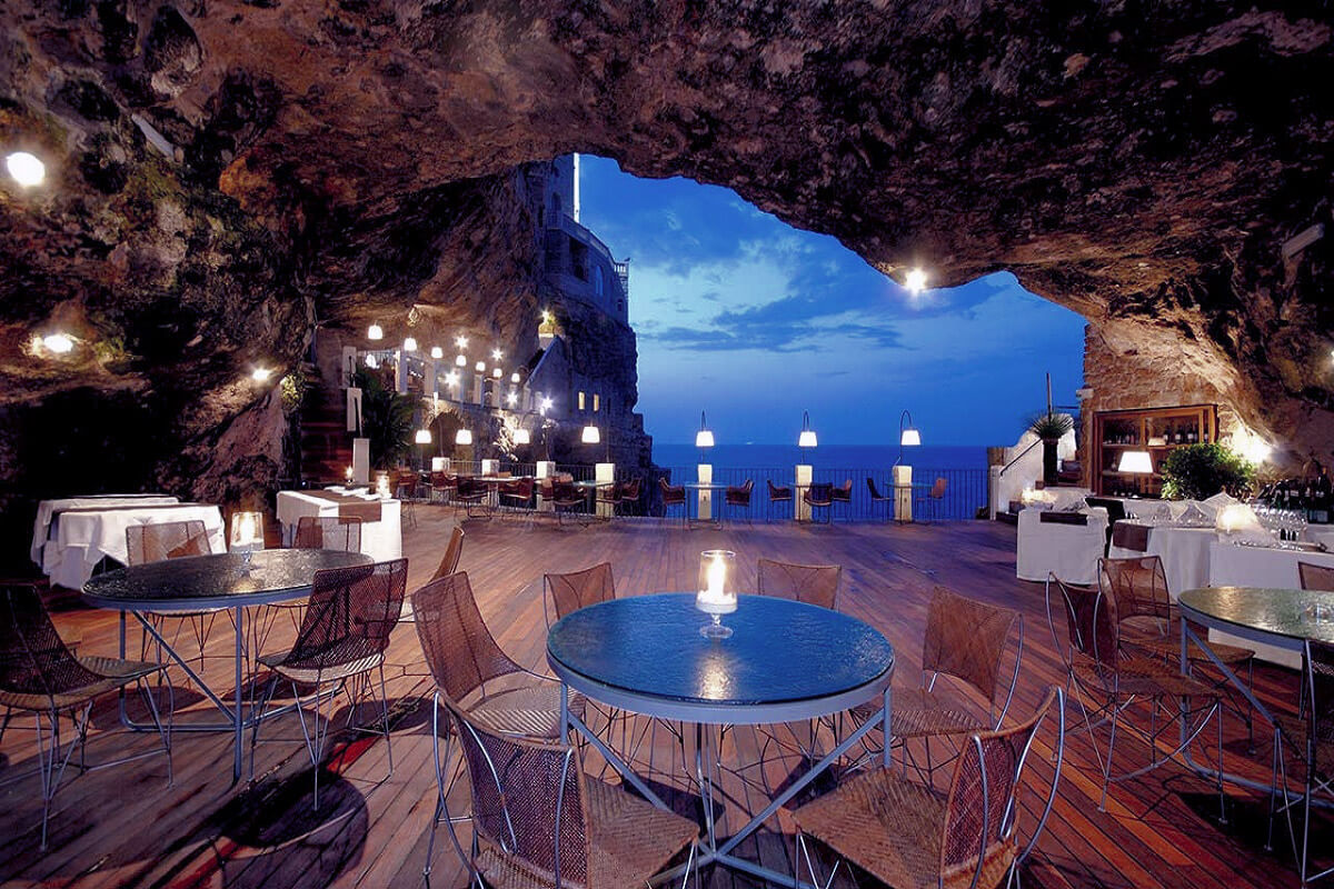 The restaurant Cave Palazese (Grotta Palazzese) is located in Italy